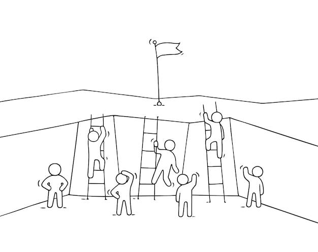 Cartoon werkende mensen klimmen uit de afgrond. hand getekende vectorillustratie voor zakelijke design