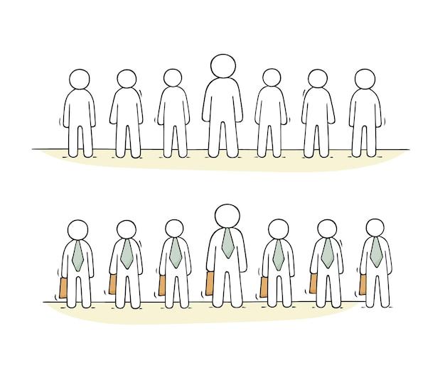 Cartoon werkende mensen staan in een rij illustratie