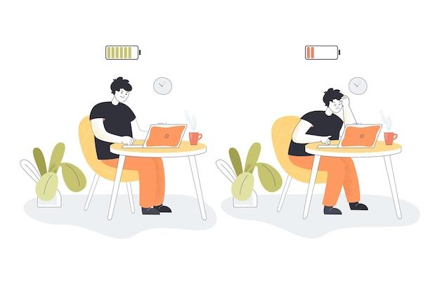 Cartoon werknemer raakt uitgeput op kantoor