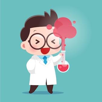 Cartoon wetenschapper met reageerbuis en wetenschap experimenten