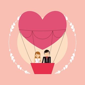 Cartoon wieden paar in hete luchtballon in hartvorm