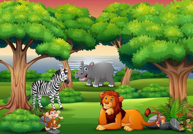 Cartoon wild dier genieten in de jungle