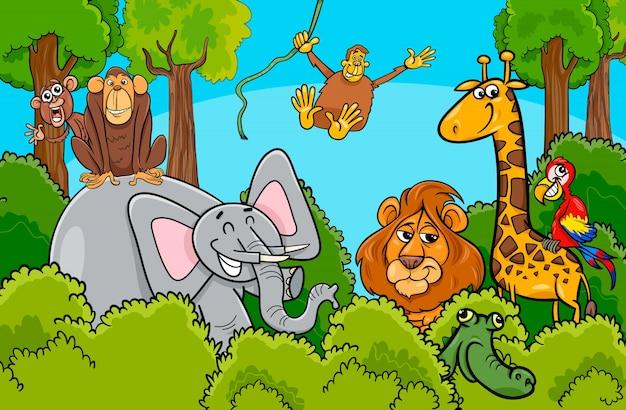 Cartoon wild dier tekens groep
