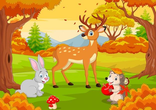 Cartoon wilde dieren in de herfst bos