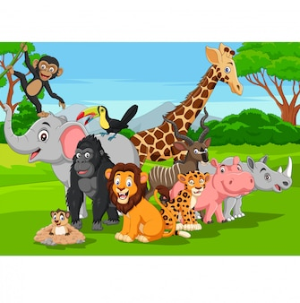 Cartoon wilde dieren in de jungle