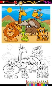Cartoon wilde dieren kleurplaat