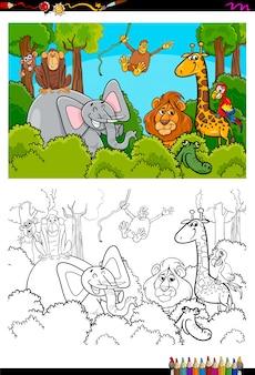 Cartoon wilde dieren tekens kleurboek