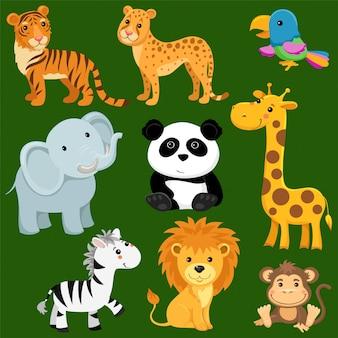 Cartoon wilde dieren van savanne en woestijn.