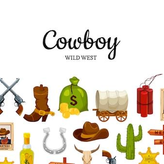 Cartoon wilde westen met copyspace