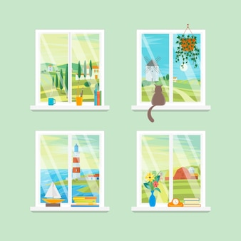 Cartoon windows verschillende weergaveset