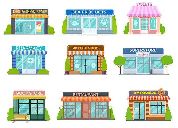 Cartoon winkels. kapper, boekwinkel en apotheek.