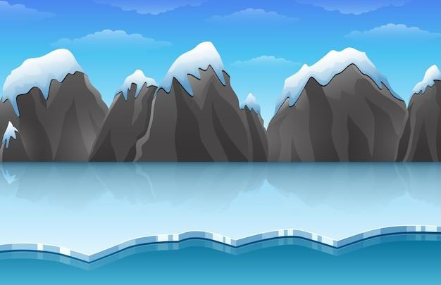 Cartoon winter arctische ijs landschap