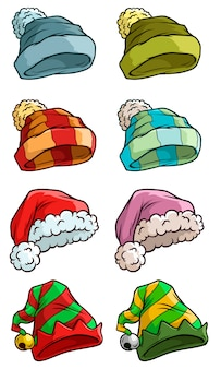 Cartoon winter kerstmuts grote vector set