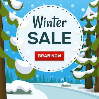 Cartoon winter landschap verkoop sociale sjabloon voor spandoek