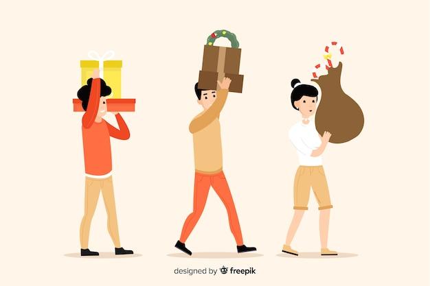 Cartoon winterkleren dragen en geschenken dragen
