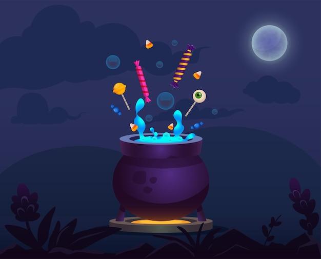 Cartoon witcher-pot met magische vloeistof en snoepjes halloween-items op nachtachtergrond