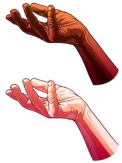 Cartoon witte en zwarte menselijke handen instellen