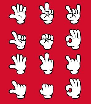 Cartoon witte handschoen hand vijf vinger gebaar collectie set.