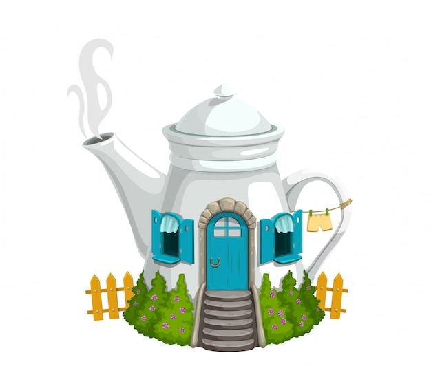 Cartoon witte ketel of theepot kabouter huis