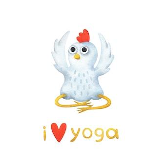 Cartoon witte kip mediteert zitten. ik hou van yoga.