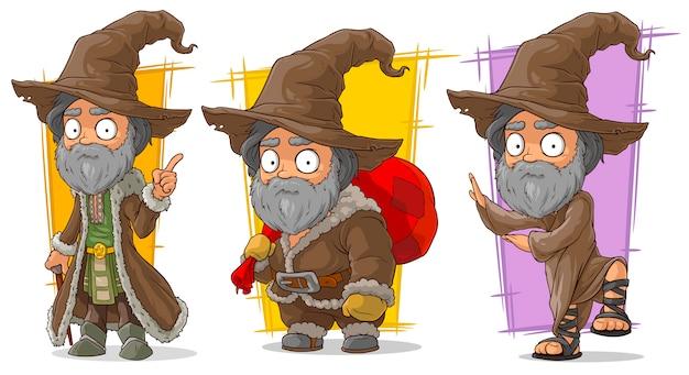Cartoon wizard met grote hoed karakter