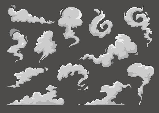 Cartoon wolken, dampende rook en stoom explosie wolken