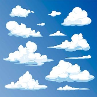 Cartoon wolken geïsoleerd op blauwe hemel.