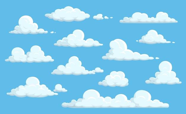 Cartoon wolken in blauwe hemel.