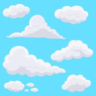 Cartoon wolken in de lucht.