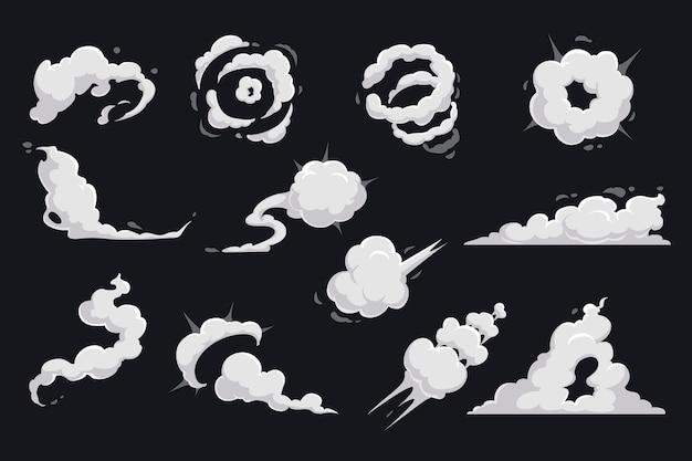 Cartoon wolken van rook en explosie