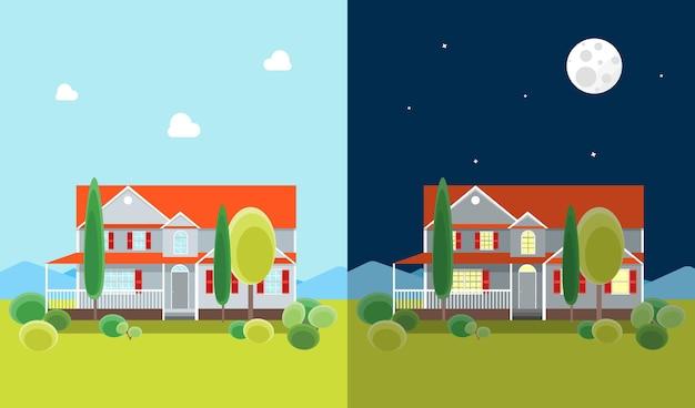 Cartoon woningbouw dag en nacht op een landschap.