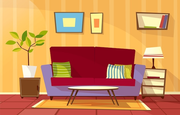Cartoon woonkamer interieur achtergrond sjabloon. gezellig huis appartement concept.