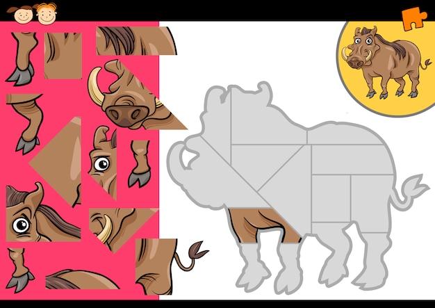 Cartoon wrattenzwijn puzzel spel