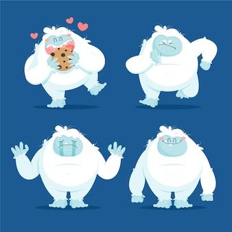 Cartoon yeti afschuwelijke sneeuwpop karakterpakket