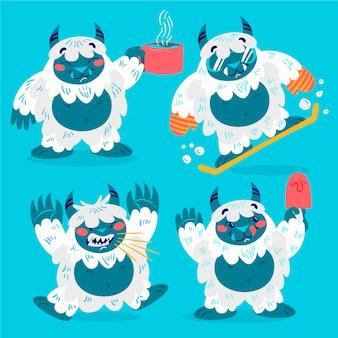 Cartoon yeti verschrikkelijke sneeuwpop illustratie