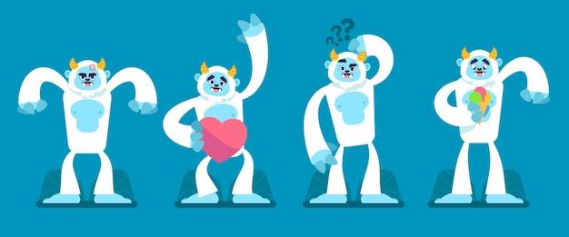 Cartoon yeti verschrikkelijke sneeuwpop karakterverzameling