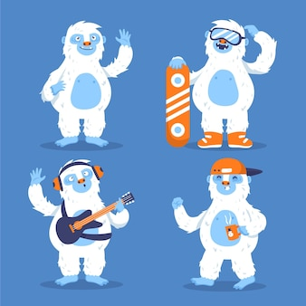 Cartoon yeti verschrikkelijke sneeuwpop tekenset