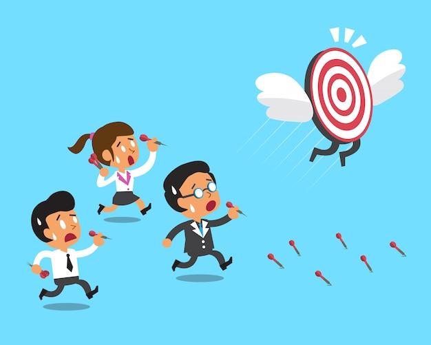 Cartoon zakelijk team en doel