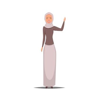 Cartoon zakelijke arabische vrouw karakter met sjaal glimlachend meisje in hijab met een opgeheven hand verwelkomt