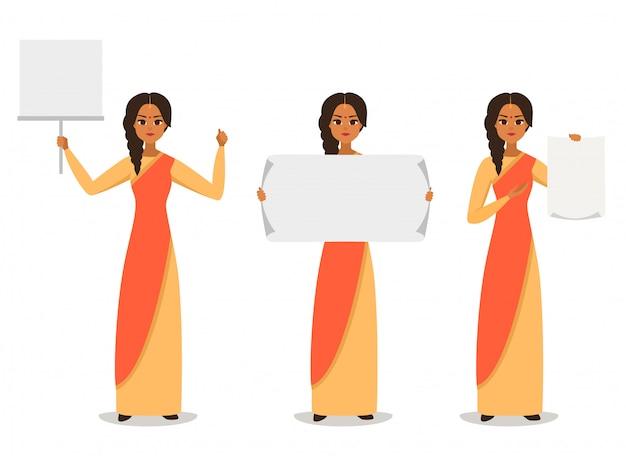 Cartoon zakelijke indiase vrouw demonstranten of activisten.