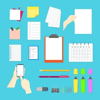 Cartoon zakelijke kleur apparatuur collectie office-elementen voor werk platte ontwerpstijl