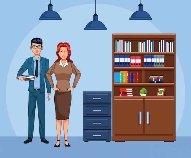 Cartoon zaken man en vrouw op kantoor landschap
