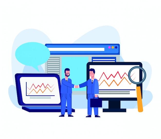 Cartoon zakenlieden en vergrootglas en computers met grafische grafieken
