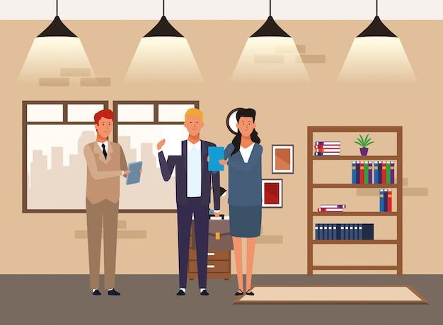 Cartoon zakenlieden en zakenvrouw