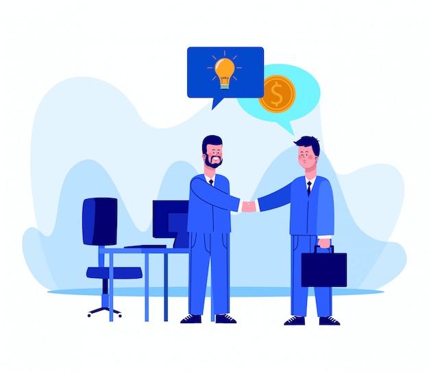 Cartoon zakenlieden op kantoor met tekstballonnen met ideeën en geld pictogrammen op wit