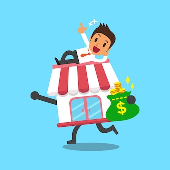 Cartoon zakenman en zakelijke winkel