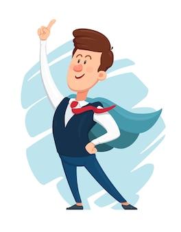 Cartoon zakenman gekleed als een superheld