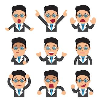 Cartoon zakenman gezichten tonen verschillende emoties