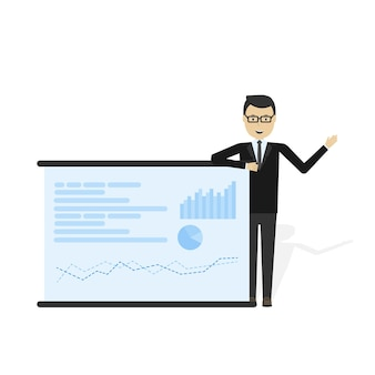 Cartoon zakenman marktaandeel grafiek tonen op billboard en reclame presenteren op zijn vectorillustratie.