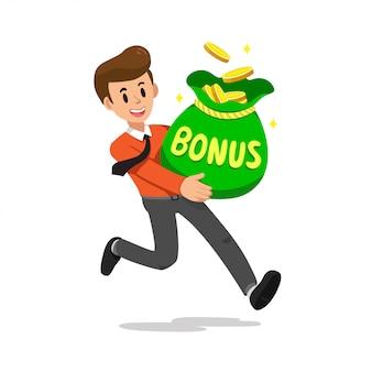 Cartoon zakenman met grote bonus geld tas